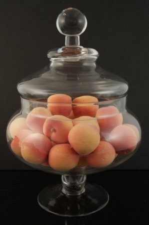 Fake Food Mini Peaches In Glass Apothecary Jar