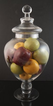 Fake Food Assorted Apples In Tall Glass Apothecary Jar