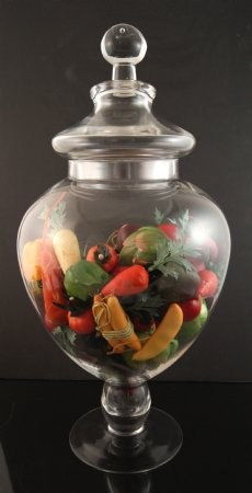 Fake Food Mini Assorted Vegetables In Tall Glass Apothecary Jar