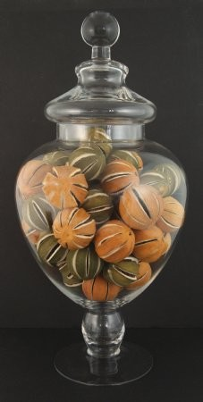 Fake Food Dried Natural Green & Orange Oranges In Tall Glass Apothecary Jar