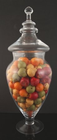 Fake Food Mini Assorted Fruits In Tall Glass Apothecary Jar