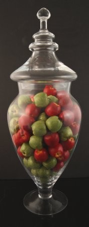 Fake Food Mini Assorted Apples In Tall Glass Apothecary Jar