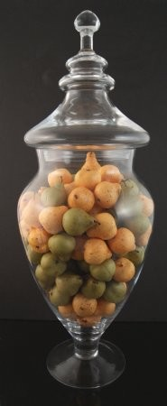 Fake Food Mini Assorted Pears In Tall Glass Apothecary Jar