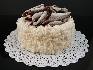 Fake Food Coconut Cake With Chocolate Swirls Top