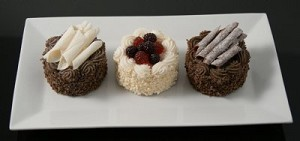 Fake Food set of 3 Small Gourmet Cakes On White Ceramic Plate