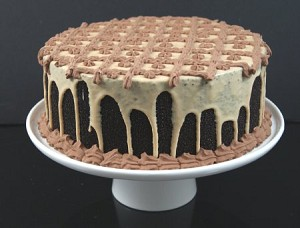 Fake Food Mocha Cake on Cake Pedestal
