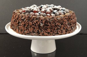Fake Food Chocolate Cake With Assorted Berries on Cake Pedestal