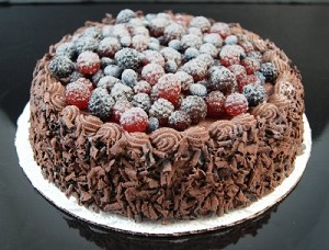 Fake Food Chocolate Cake With Assorted Berries