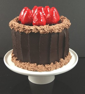 Fake Food Jr. Chocolate Strawberry Cake On Ceramic Pedestal Tray