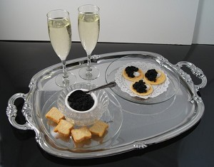 Fake Food Champagne & Caviar Set On Metal Tray With Handles