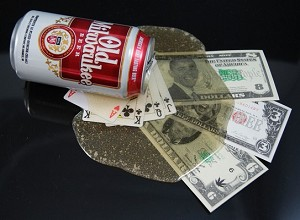 Fake Food Spilled Beer Can Poker Hand