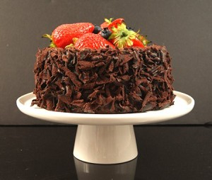 Fake Food Chocolate Cake With Strawberries & Blueberries on Cake Pedestal