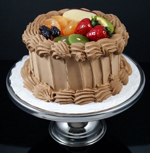 Fake Food Chocolate Fruit Top Cake On Pedestal Tray