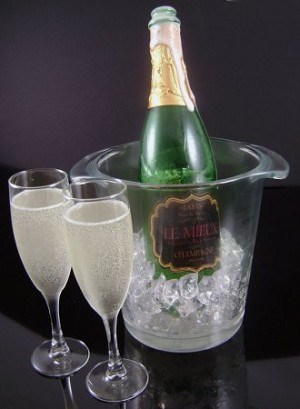 Fake Food Champagne Set W/ Ice Bucket Frosted
