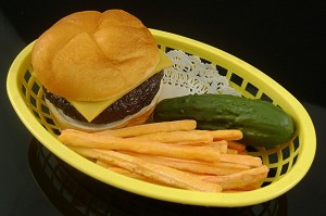 Fake Food Cheeseburger Basket