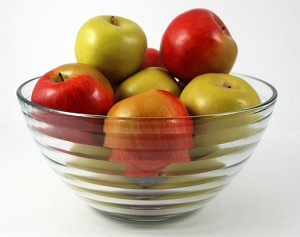 Fake Food Green & Red Apples In Large Glass Ridge Bowl - 11 X 5.5