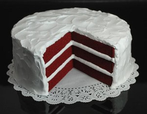 Fake Food Red Velvet Cake With Slice Out