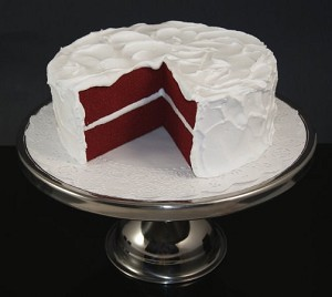 Fake Food Red Velvet Cake With Slice Out On Pedestal Tray