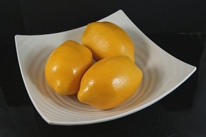 Fake Food Jumbo Lemons In Decorative Melamine Bowl