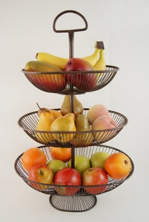 Fake Food Fruit Assortment In 3-tier Tall Wire Kitchen Basket