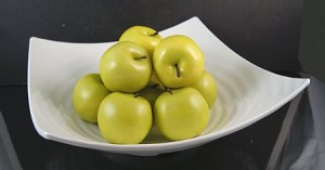 Fake Food Green Apples In Decorative Melamine Bowl
