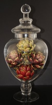 Fake Food Artichokes In Tall Glass Apothecary Jar