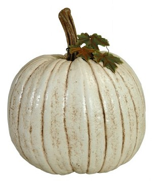 Fake Food Jumbo Antique White Pumpkin with Leaves