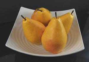 Fake Food Jumbo Yellow Pears In Decorative Melamine Bowl
