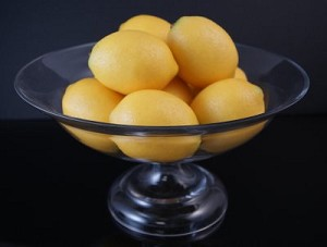 Fake Food Lemons In Glass Pedestal Bowl