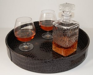 Fake Food Brandy Set On Faux Leather Tray