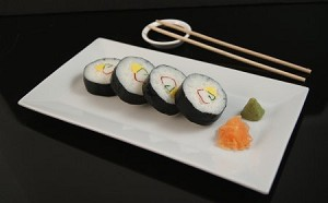 Fake Food Sushi California Roll Plate With Soy Dish