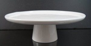 Fake Food Ceramic White Pedestal Cake Platter Large