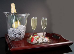 Fake Food Champagne Set On Wood Mahogany Tray