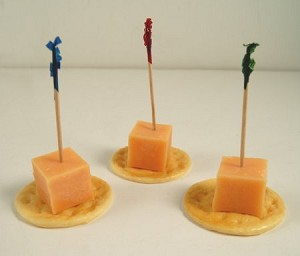 Fake Food Cheddar Cheese Cubes on Crackers