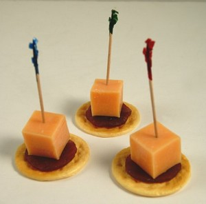 Fake Food set of 3 Cheddar Cheese Cube & Pepperoni Slice on Cracker