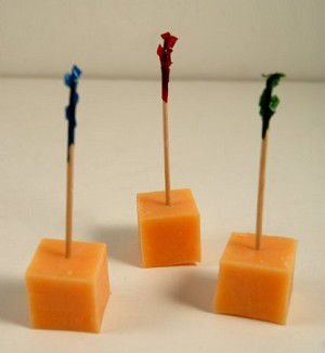 Fake Food Cheddar Cheese Cubes on Picks