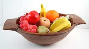 Fake Food Fruit Assortment on Carved Chopping Bowl
