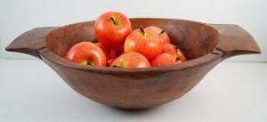 Fake Food Red Gala Apples on Carved Chopping Bowl