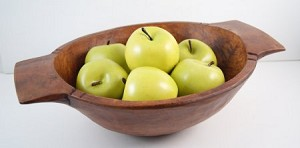 Fake Food Granny Smith Apples on Carved Chopping Bowl