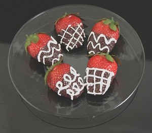 Fake Food Jumbo Deluxe Chocolate Strawberries On Plate