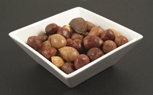 Fake Food Deluxe Mixed Nuts Set in White Bowl