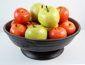 Fake Food Red Gala and Granny Smith Apples on Primitive Footed Bowl