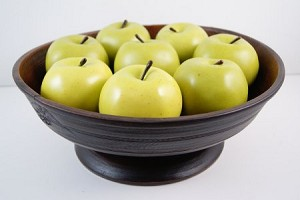Fake Food Granny Smith Apples on Primitive Footed Bowl