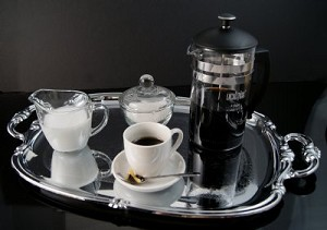 Fake Food French Press Coffee Set On Metal Tray With Handles