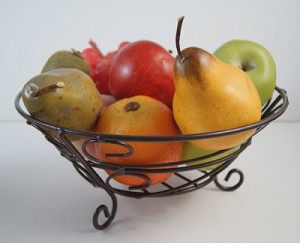 Fake Food Fruit Assortment In Wire Bowl