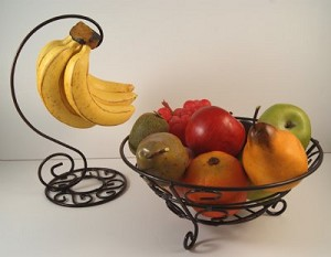 Fake Food Fruit Assortment In Decorative Wire Set