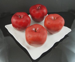 Fake Food Jumbo Red Apples On Decorative Melamine Tray