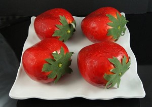 Fake Food Jumbo Assorted Strawberries On Decorative Melamine Tray