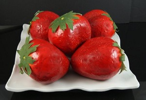 Fake Food Jumbo Strawberries In Decorative Melamine Tray