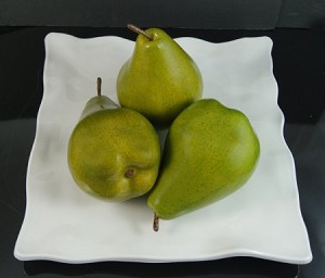 Fake Food Jumbo Green Pears On Decorative Melamine Tray